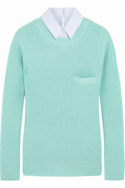 Sacai Sacai Luck poplin-trimmed wool sweater