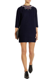 Sacai Sacai Luck appliquéd wool-blend felt mini dress