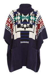 Sacai Sacai Luck jacquard-knit wool-blend poncho