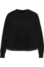 Sacai Sacai Luck flared cable-knit wool sweater