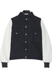 Sacai Sacai Luck leather-sleeved wool-blend bomber jacket
