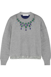 Sacai Sacai Luck appliquéd cotton-jersey sweatshirt