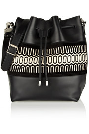Proenza Schouler Bucket large jacquard-trimmed leather shoulder bag