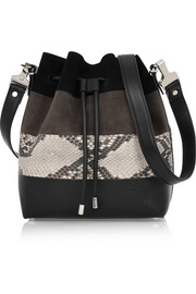 Proenza Schouler Bucket medium suede, python and leather shoulder bag