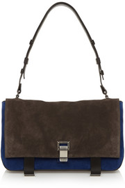 Proenza Schouler PS Courier medium suede and leather shoulder bag