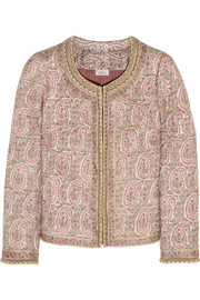 Talitha Paisley-print quilted Tussar silk jacket