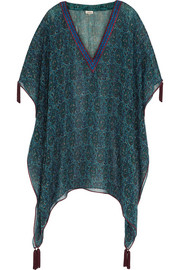 Talitha Pia embroidered silk-georgette poncho top