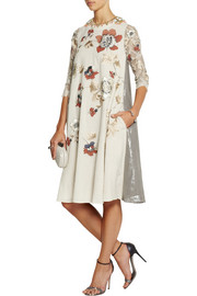 Biyan Liana embellished embroidered voile, lace and lamé dress
