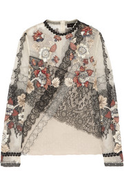 Biyan Jillian embroidered point d'esprit and lace top
