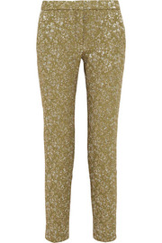 Rochas Metallic jacquard straight-leg pants