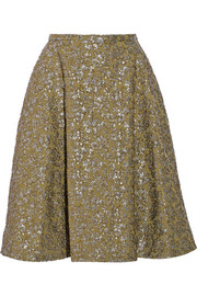 Rochas Metallic jacquard skirt