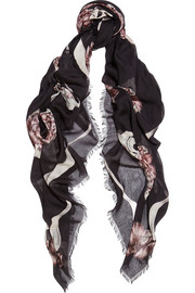 Romantic Skull printed modal and silk-blend scarf