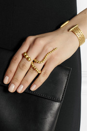 Paula Mendoza Adriane gold-plated two-finger ring