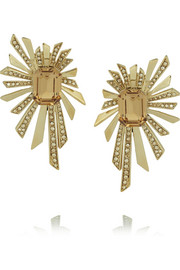 Roberto Cavalli Gold-plated Swarovski crystal clip earrings