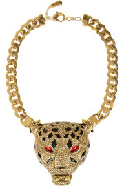 Roberto Cavalli Gold-plated Swarovski crystal panther necklace