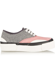 Julien David Paneled wool and suede sneakers