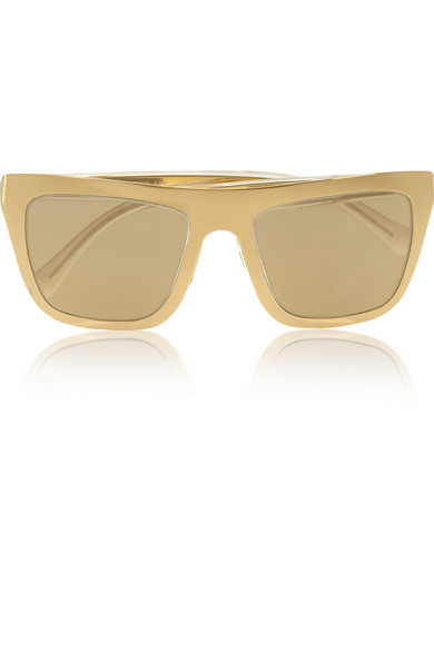 Dolce & Gabbana Gold-plated D-frame mirrored sunglasses ...