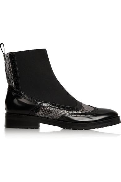 Chelsea Boots aus Leder und Pythonleder
