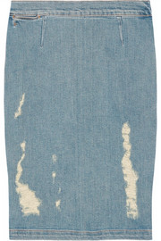 Frame Denim Le High distressed stretch-denim pencil skirt