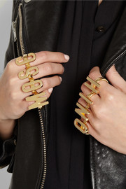 Moschino + V&A set of two gold-plated knuckle rings
