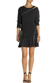 Jay Ahr Zip-detailed crepe mini dress