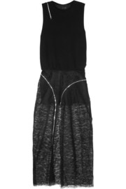 Jay Ahr Zip-detailed wool and lace maxi dress