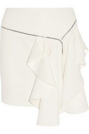 Jay Ahr Zip-trimmed ruffled crepe mini skirt