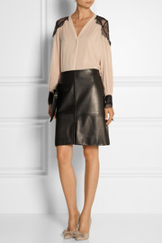 Alice + Olivia Sofia lace-trimmed stretch-silk georgette blouse