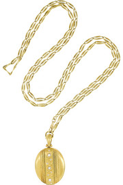Olivia Collings 1870s 18-karat gold, pearl and diamond locket necklace