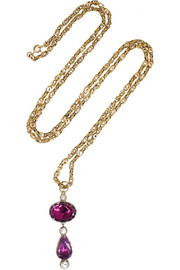 Olivia Collings 1860s 14-karat gold, amethyst and crystal necklace
