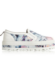 MSGM Floral-print twill slip-on sneakers