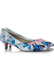 MSGM Floral-print satin-twill pumps