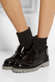 MSGM Patent-leather and scuba-jersey ankle boots