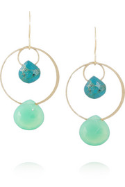 Melissa Joy Manning 14-karat gold, chrysoprase and chalcedony earrings