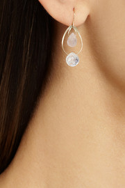 Melissa Joy Manning 14-karat gold, rose quartz and moonstone earrings