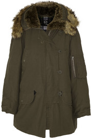 Faux fur-lined cotton parka