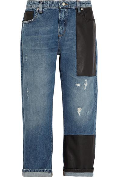 e9f0a0e991 McQ Alexander McQueen. Faux leather-trimmed boyfriend jeans