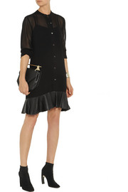 McQ Alexander McQueen Leather-trimmed chiffon shirt dress