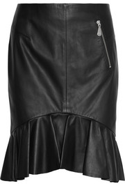 McQ Alexander McQueen Ruffled leather mini skirt