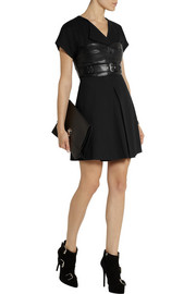 McQ Alexander McQueen Leather-paneled crepe mini dress