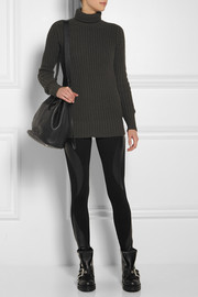 McQ Alexander McQueen Leather-paneled stretch-jersey leggings