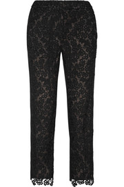 Erdem Gianna embroidered lace and silk-blend crepe tapered pants
