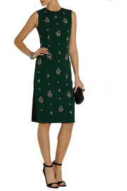 Erdem Brenton embellished wool-crepe and jersey dress