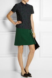 Erdem Calista pleated wool-crepe mini skirt
