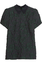 Erdem Doreen matelassé silk-blend and crepe top