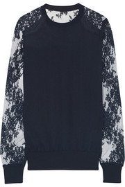 Erdem Cilla lace-paneled modal-blend sweater
