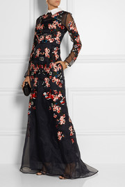 Erdem Suri embroidered silk-organza gown