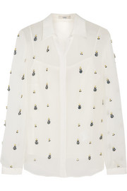 Erdem Sloane crystal-embellished silk-georgette shirt