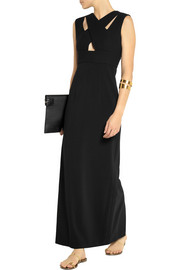 Emanuel Ungaro Cutout wool-crepe and stretch-jersey gown