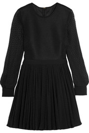 Emanuel Ungaro Mesh and flocked silk-chiffon mini dress